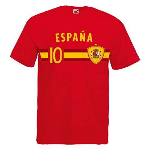 Fußball WM T-Shirt Fan Artikel Nummer 10 - Weltmeisterschaft 2018 - Länder Trikot Jersey Herren Damen Kinder Spanien Espana Spain S