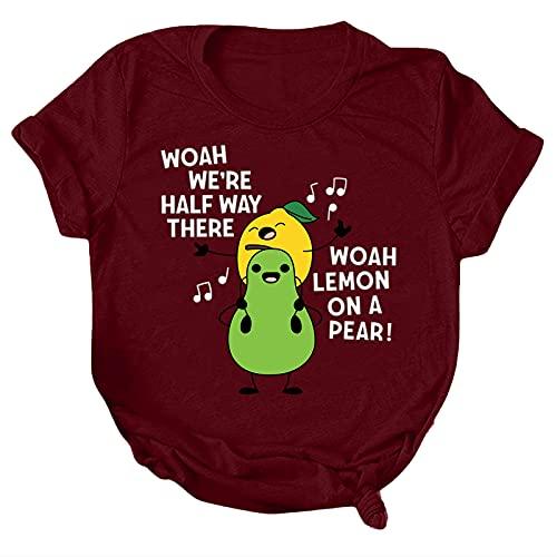 Camiseta suelta de manga corta con cuello en O para mujer, camiseta básica para damas, camisetas para verano al aire libre, blusa (vino, M)