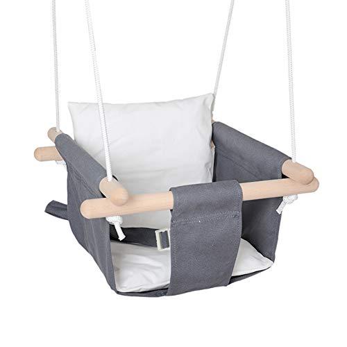 MIMIEYES Holz Baby Schaukel Leinwand Sitz Set mit Kissen, handgefertigte Kinder Indoor Outdoor Hängesessel Hängematte, Bequeme Kleinkind Sitz Kinderzimmer Dekor (grau-weiß)