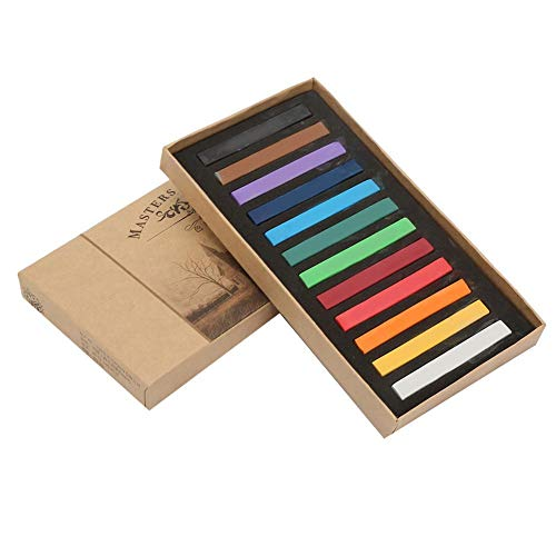 GLOGLOW Artist Pastels, Square Disposable 24 36 48 Colorful Fluorescent Crayons Set Soft Pastel Painting Sketching Chalk Crayons Kit(12 Colors)