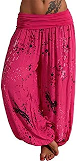 KWENG Summer Beach Bohemian Pants Ladies High Waist Harem Pants Plus Size Retro Loose Printed Bloomers Floral Trousers Women (Color : Rose red, Size : 5XL)