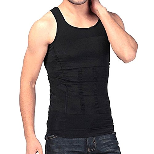 Bcurb Men's Compression Undershirt Shirt Vest Tank Top Body Shaper Workout Tank Tops Training Shirt Perfect for Running, Workout, Gym, Yoga, Daily Wear. (Black, Large)