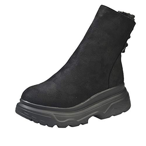 Zapatillas para Mujer by BaZhaHei, Zapatos para Mujer Plataforma Tacón Grueso Antideslizante Punta Redonda Botas clásico de la Moda de Hebilla Informal de Mujer de Corte bajo con Botas Cortas