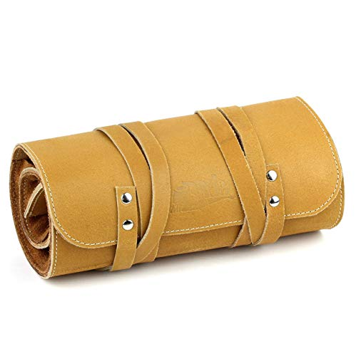 Mr. Brog Elegant Full Grain Leather Tobacco Pipe Pouch Rollup - (Large) - Tan