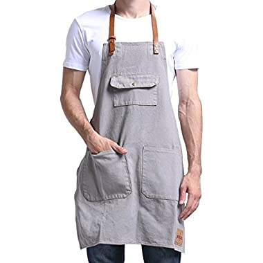 VANTOO Canvas Bib Apron with 3 Pockets- Artist Painting Home Shop Kitchen Cooking Commercial Restaurant Apron-Removal Leather Neck Strap and Waist Strap-For Women and Men-Perfect for Gifts,Grey