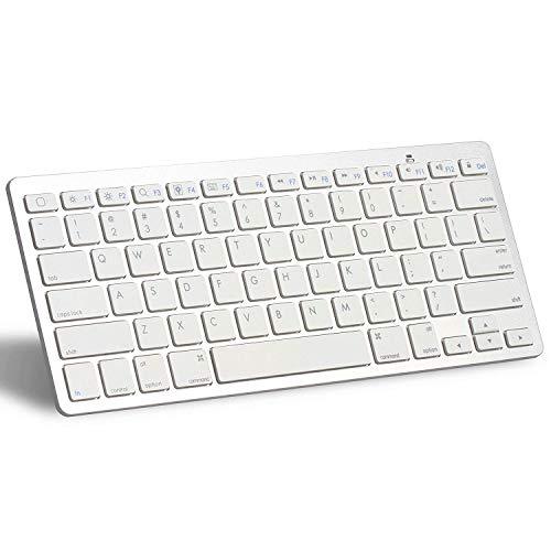 XINKSD Bluetooth Ultra-Slim Keyboard for iPad Air 2 / Air, iPad Pro, iPad mini 4 / 3 / 2 / 1, iPad 4 / 3 / 2 , New iPad 9.7'(2018/ 2017), Galaxy Tabs and Other Mobile Devices (White)