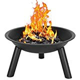 Minelody Fire Pit Bowl, 22 Iron Universal Replacement Fire Pit Bowl w/Leg Support Brackets, Outdoor Patio Steel BBQ Black