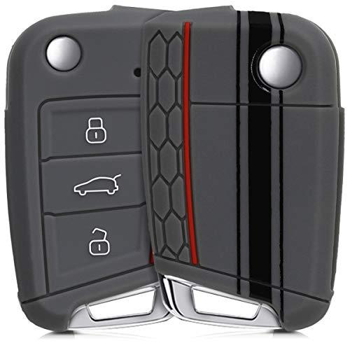 kwmobile Cover Chiave Compatibile con VW Golf 7 MK7 con 3 Tasti - Guscio Protettivo coprichiave Morbido Silicone TPU - Strisce Rally Nero/Grigio