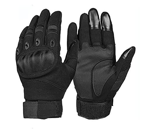 ZZPING Hombres Finger Touch Pantalla Táctica Guantes del Ejército Táctico Ciclismo Senderismo Montando Moto Motocicleta Guantes Microfibra Motocicleta (Color : Black, Size : L)