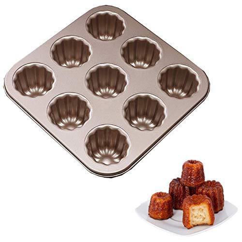 Molde de Canele, antiadherente, de acero al carbono, para hornear, moldes para hornear, utensilios de cocina, canele, pastel, natillas francés, magdalenas, magdalenas, molde para tartas (9 cavidades)