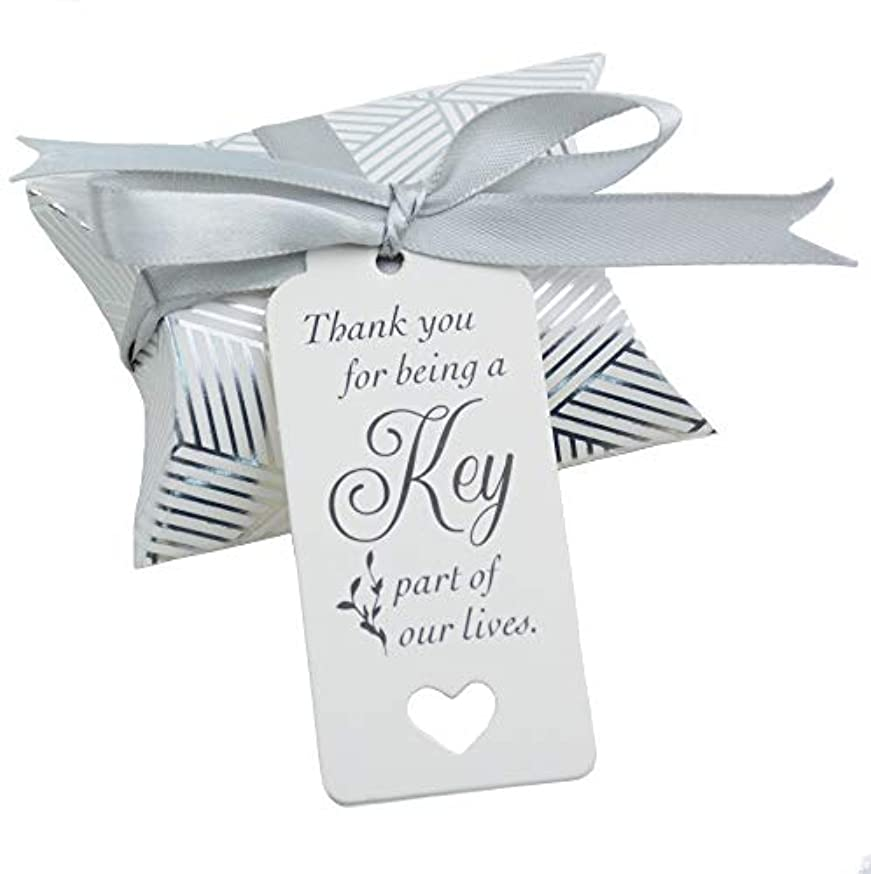 50pcs Vintage Kraft Box Sweet Paper Candy Box Gift Box with Ribbon Gift Tags for Wedding Birthday Party (Silver Stride)