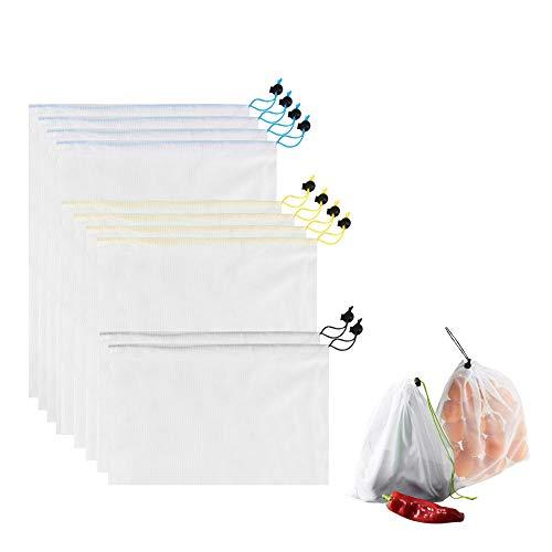 Bolsas reutilizables de malla con cordón de palanca multifunción, para almacenar alimentos, frutas, verduras, juguetes