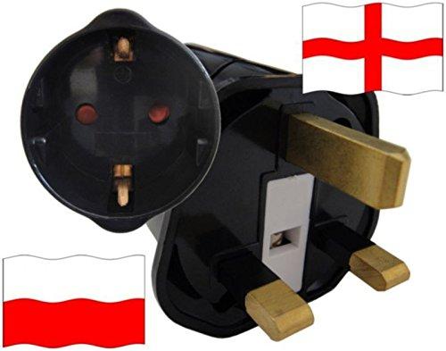 Urlaubs Reiseadapter England für Geräte aus Polen Kindersicherung und Schutkontakt 250 Volt