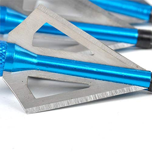 Flobby Hunting Broadheads, 12PK 3 Blades Archery Broadheads 100 Grain Screw-in Arrow Heads Arrow Tips Compatible with Crossbow and Compound Bow (Blue)