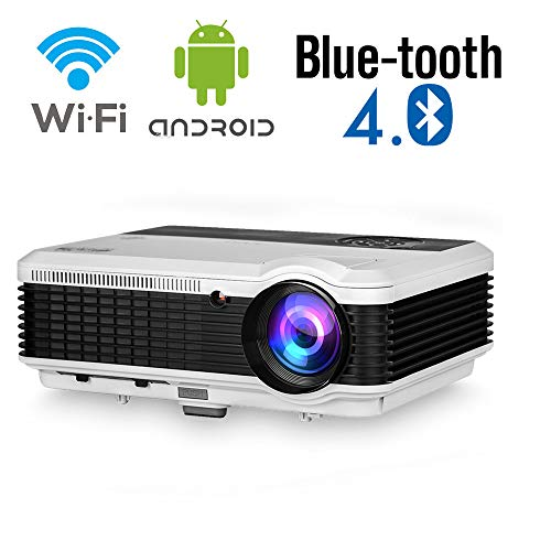 Full HD 5000 Lumen Movie Projector with WiFi Bluetooth Smart Android Cinema Home Theater Projector Wireless Screen Mirroring for Indoor Outdoor Video Gaming HDMI USB TV Stick Android Phone PS4 Laptop