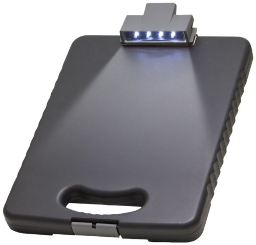 Officemate OIC Deluxe Letter/A4 Size Tablet Clipboard Case with LED Light, Charcoal (83316)