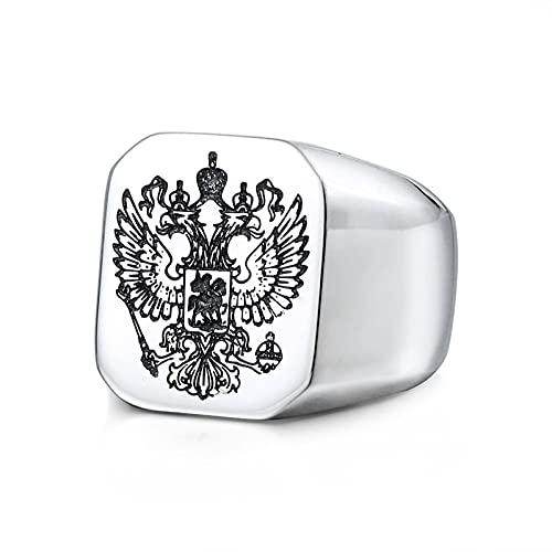 ZiFei Anillos de Acero Inoxidable para Hombre, Anillo con Emblema Nacional Ruso de Águila Doble Cabeza Novio Motociclista Joyería Regalo Creativo,Plata,11