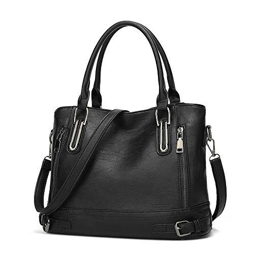Sakilor Las señoras de la moda de los bolsos de las señoras Bolso de mano del cuero de la PU del bolso del mensajero Bolso de mano del hombro-negro