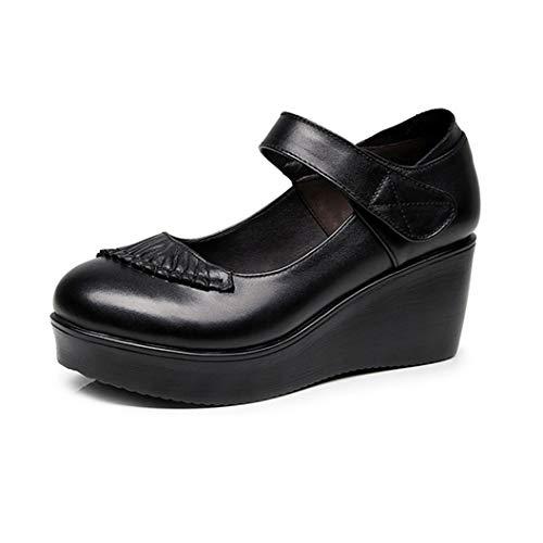 Frauen Keilabsatz Schuhe 6 cm Mode Nähen Falten Leder Stick Strap Runde Kappe Schwarz Klassische Arbeit Business Schuhe Weibliche Mary Jane Schuhe