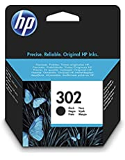 HP 302 F6U66AE Negro, Cartucho Original, de 190 páginas, para impresoras HP Deskjet serie 1110, 2100, 3600, HP ENVY 4500, HP OfficeJet 3800 y 4600