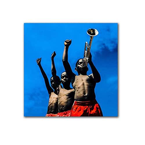 HGLLL Cuadro en Lienzo Niño pequeño Tocando el trombón, pósteres e Impresiones de Figuras para decoración del hogar, imágenes (40x40 cm) sin Marco
