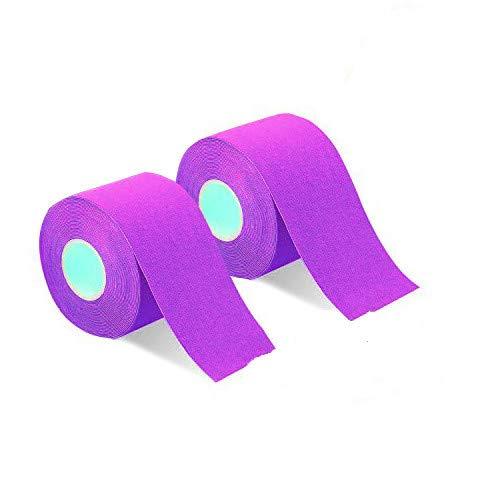 2巻入 テーピングテープ キネシオ テープ 筋肉・関節をサポート 伸縮性強い 汗に強い パフォーマンスを高める 5cm x 5m (パープル)