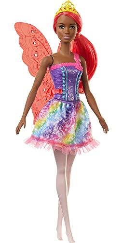 Barbie Dreamtopia Muñeca de Hada Morena con Vestido de Arcoiris y Brillo (GJK01) , color/modelo surtido