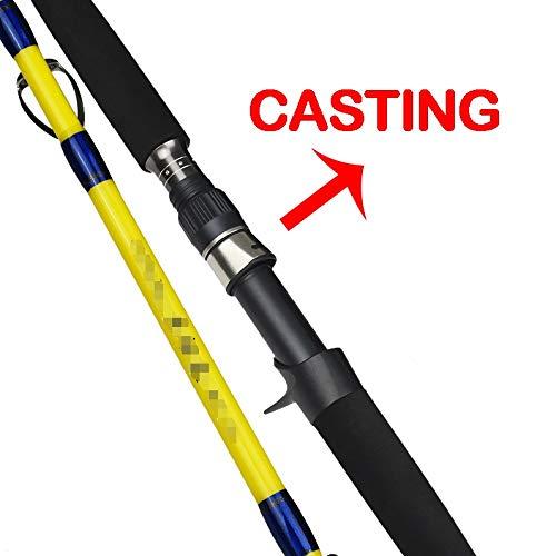 L-MEIQUN, 1.8m 1.98m 2.1m Mare Barca trivellante Canna da Pesca in Fibra di Carbonio di filatura Baitcasting Jig Shore Barca Ocean Popping Rod (Colore : Casting, Taglia : 1.7M)