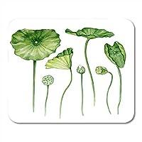 マウスパッドピンクヨガカラフル植物葉ロータス水彩画花緑沼地ホワイトアジアマウスパッドノートブック、デスクトップコンピューターマウスマット、オフィス用品