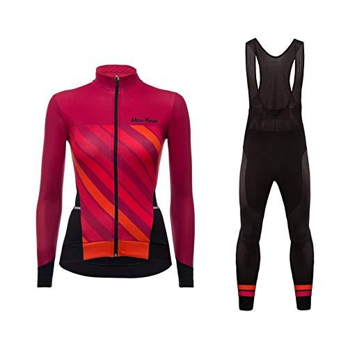 Sports Wear Uglyfrog MTB Invierno Conjunto Fleece Mujer Transpirable – Rueda equipación de Bicicleta Camiseta Manga Larga +Bib Pantalones con Asiento Acolchado