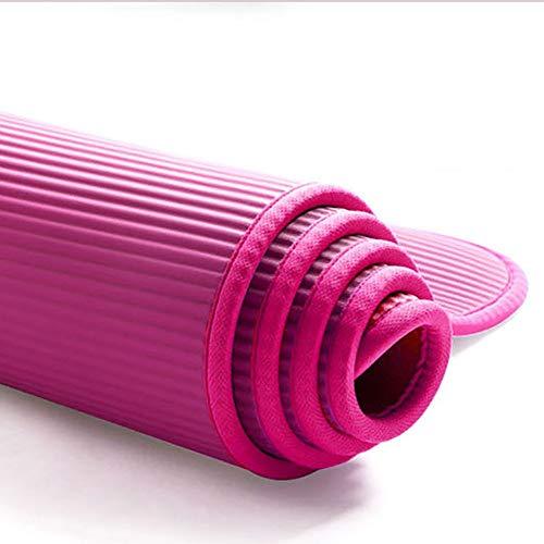 MH-RING Colchoneta de Yoga de NBR de Alta Densidad y Extra Gruesa de 10mm Diseñada para Pilates, Fitness y Entrenamiento - con Correa de Hombro 183cm x 61cm (Color : Pink)