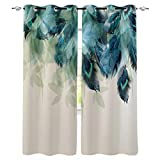 Advancey Bedroom Window Curtain Panels Peacock Feather Teal Blue Turquoise Floral Green Leaf Thermal Insulated Curtains 2 Panels Set,52' W x84 L
