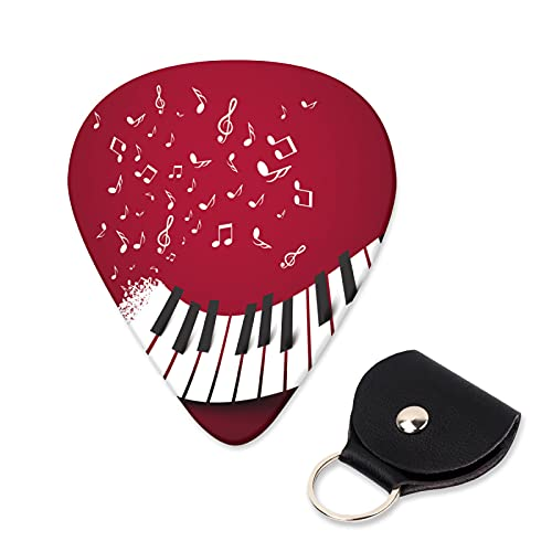 OcuteO Acoustic Guitar Picks Medium Piano Keys Keyboard Music Notes On Dark Red Electric Ukele Funny Cool Unique Guitar Picks Thin Heavy For Beginners Kids Women Boys Girls Guitar Gifts Accessories