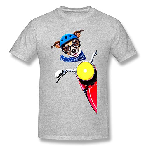 Dog Riding Motorbike Men Standard Tee Gray M