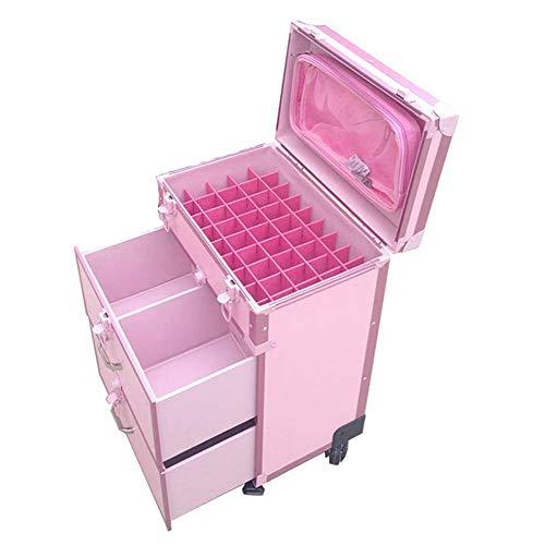 Maletín de maquillaje universal de aluminio con doble cajón, caja de herramientas portátil de viaje, color rosa, 56 x 23 x 35 cm