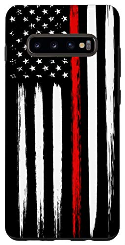 Galaxy S10+ Firefighter Phone Case Thin Red Line American Flag Fireman Case
