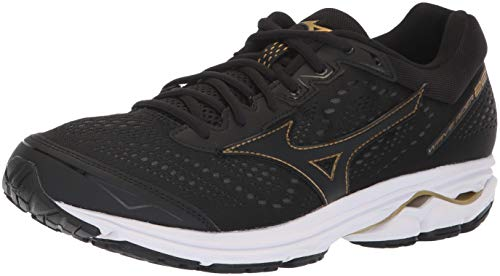 Mizuno Men's Wave Rider 22 Running Shoe, black/gold, 7.5 D US