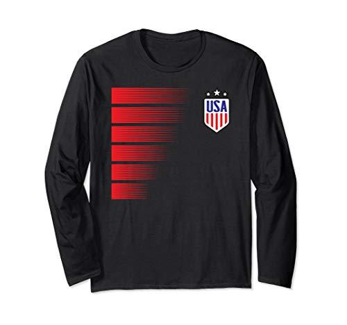 Womens Soccer Jersey USA Fan Flag Stars Long Sleeve T-Shirt