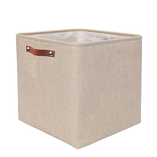 Mangata Cajas de Almacenaje Decorativas, Cesta de Almacenamiento de Tela Plegable, Cubos de Almacenamiento - 33 x 33 x 33 cm (Beige, 1 Pcs)