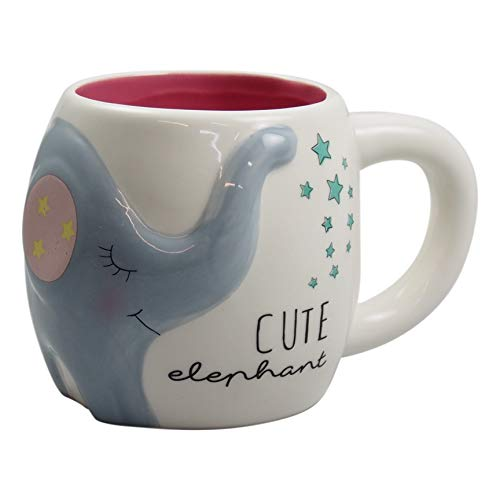 perla pd design Tasse Füllmenge 400 ml Porzellantasse Kaffeepott Kaffeetasse Kindertasse Teetasse mit Elefantenmotiv Höhe ca. 9.7 cm