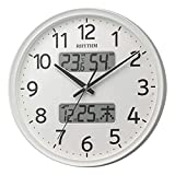 リズム時計工業(Rhythm) 掛け時計 白 Φ35x5.3cm 電波 アナログ 連続秒針 温度 湿度 カレンダー 8FYA03SR03