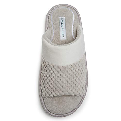 Laura Ashley Spa Texture Open Toe Plush Fleece House Slippers with Collar and Memory Foam, Ladies Easy Slip on Soft Cozy Warm Indoor Outdoor Use - Clay, Medium