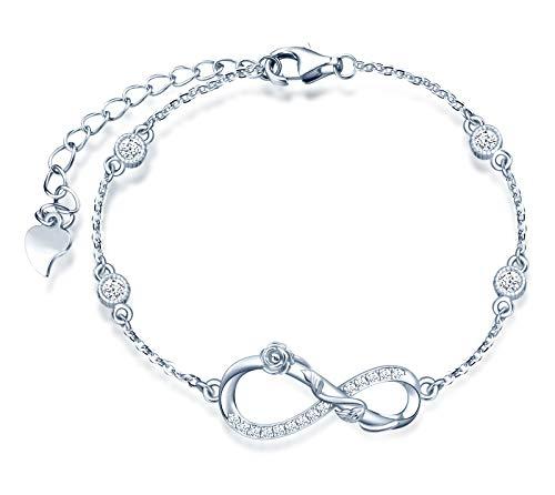 INFINIONLY Pulsera para mujer, juegos de joyas de plata esterlina 925, pulsera con símbolo de infinito y rosa, incrustación de zirconia, plata, Regalos de cumpleaños y Navidad