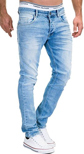 MERISH Jeans Herren Slim Fit Jeanshose Stretch Designer Hose Denim 9148-2100 (30-32, 9148 Hellblau)