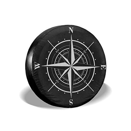 WH-CLA Antipolvere Spare Tire Cover,Copertura Ruota di Scorta,Bussola Rosa dei Venti Nero Bianco Copricerchi Universali Accessori per Veicoli Rimorchio RV SUV M