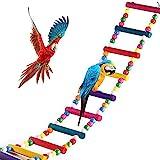 Juguete Escalera de Madera para Loro Pájaro, Escalera de Pájaro Loro, Juguete Pájaro Loro Escalera, Juego de Escalera de Madera Loro, Escalera Loro Multicolor, 11 Escalera 77cm, para Ejercicios Loros