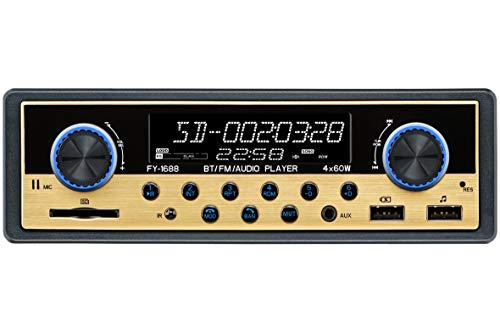 Dual USB Car Stereo Receiver - Single Din,FM Radio,Bluetooth Hands Free Calling,with Time Display LCD,Support MP3/USB/SD/Aux,Dual Knob Car Digital Media Audio Player,USB Fast Charging, Golden