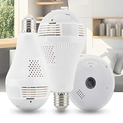 3MP Cámara Oculta Panorámica De La Lámpara del Hogar De La Bombilla De La Cámara IP De WiFi De HD 360 ° Infrarrojos,Equipment+tf128G
