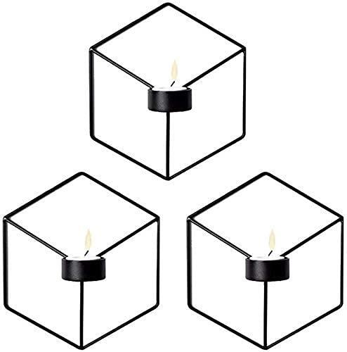 Kandelaars Voor Woonkamer Kandelaarhouders 3 Stks Huis Ornament Scandinavische Stijl 3D Geometrische Wandmontage Kandelaar Metalen Kandelaar Home Decor (Kleur: Zwart) (Kleur: Zwart, Maat: -)