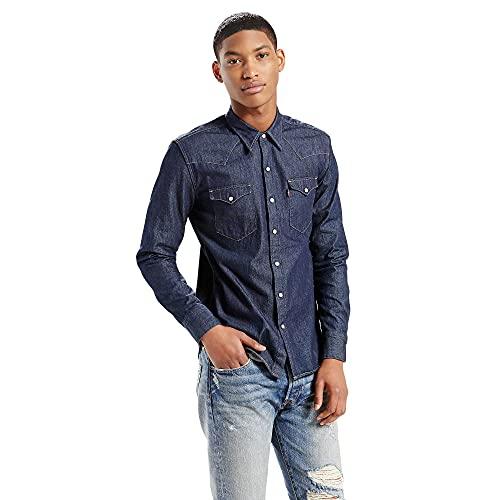 Levi's L/S Barstow Western Shirt, Camisa Casual de Manga Larga Para Hombre, Azul (Dark Indigo - Flat Finish), X-Small